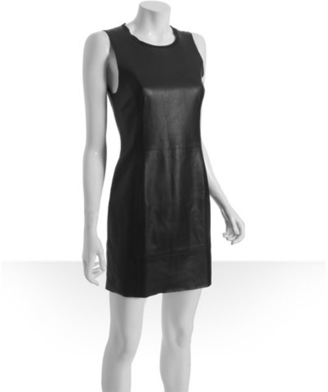 Rag & Bone black leather crewneck sheath dress