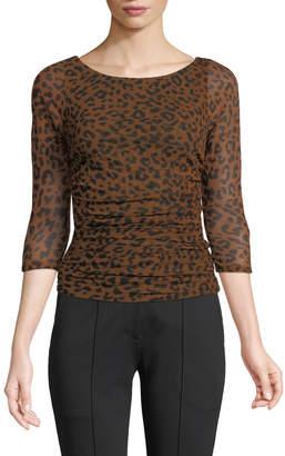 Diane von Furstenberg Ruched Mesh 3/4-Sleeve Leopard-Print Blouse