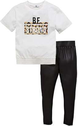 Very Girls 'Be Strong' Sequin T-shirt & Pu Legging Outfit