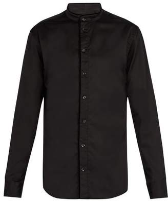 Giorgio Armani Stand Collar Cotton Shirt - Mens - Black