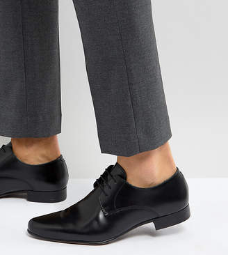 Asos Design Wide Fit Derby Shoes in Black Leather