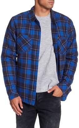 Quiksilver Plaid Print Regular Fit Faux Shearling Lined Shirt