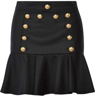 Veronica Beard Morrison Ruffled Embellished Twill Mini Skirt - Black