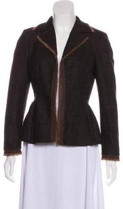 Alberta Ferretti Fur-Trimmed Wool Blazer
