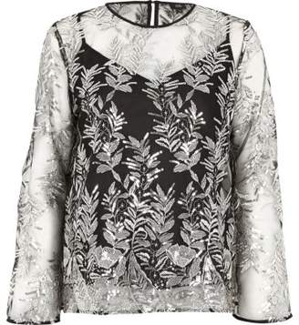 River Island Black mesh sequin embroidered bell sleeve top