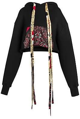 Alanui Women's Bandana Cotton & Cashmere Cropped Hoodie