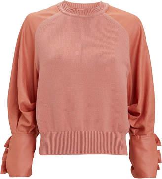 ADEAM Satin Sleeve Sweater