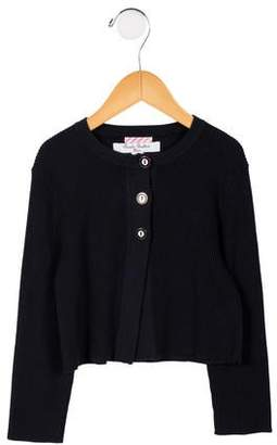 Brooks Brothers Girls' Rib Knit Button-Up Cardigan