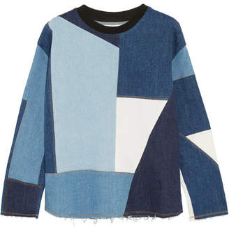 Victoria Beckham Victoria, Frayed Patchwork Denim Sweater - Mid denim
