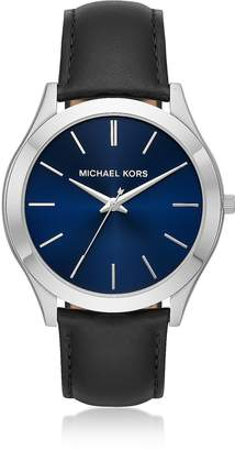 Michael Kors Slim Runway Silver Tone and Black Leather Men's Watch