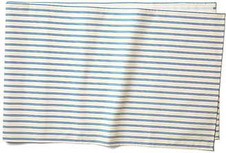Maison Du Linge Stripe Table Runner - Blue/Ecru