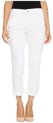 NYDJ Petite Petite Boyfriend w/ Patchwork in White Women's Jeans