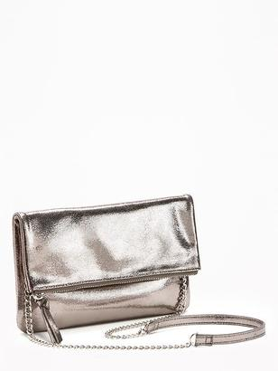 Metallic Fold-Over Clutch for Women $22.94 thestylecure.com