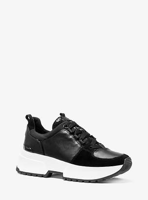 Michael Kors Cosmo Leather Mixed-Media Trainer