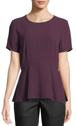 Eileen Fisher Silk Georgette Peplum Top, Petite