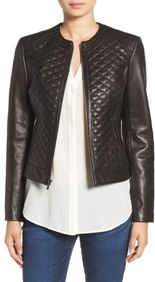 Women's Cole Haan Quilted Leather Moto Jacket $498 thestylecure.com