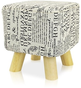 DL furniture - Ottoman Foot Stool Square Shape, 4 leg Stands | Linen Fabric, Letters Pattern