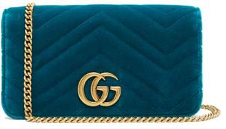 Gucci Marmont Gg Velvet Mini Bag - Womens - Green