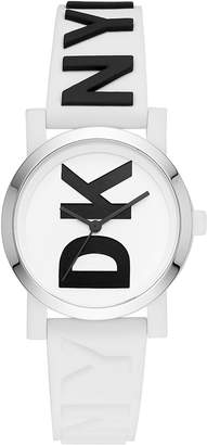DKNY Women's SoHo White & Black Silicone Strap Watch 34mm, Created for Macy's