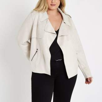 River Island Womens Plus stone faux suede cropped trench jacket