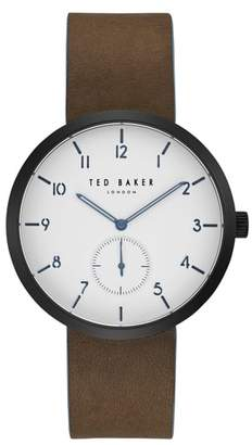 Ted Baker Josh Subeye Leather Strap Watch, 42mm