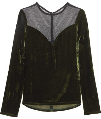 Lanvin - Tulle-paneled Velvet Top - Army green $1,175 thestylecure.com