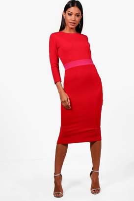 boohoo Formal Contrast Waist Midi Dress