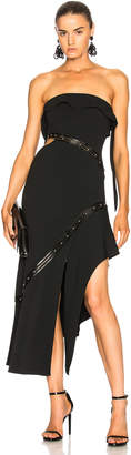 Jonathan Simkhai Studded Leather Trim Strapless Dress