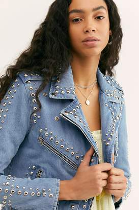 8679e8ecded8 at Free People · Understated Leather Studded Denim Moto Jacket
