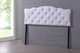 Baxton Studio Wholesale Interiors Rita Modern and Contemporary Faux Leather Upholstered Button-Tufted Scalloped Headboard