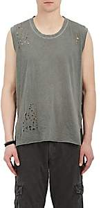 NSF Men's Distressed Cotton Muscle Tank-Olive Size L