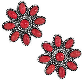 American West American West Sterling Red Coral Cluster ButtonEarrings