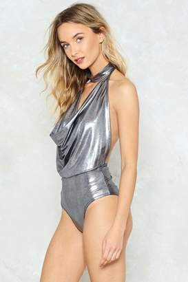 Nasty Gal Cowl You Doin' Metallic Bodysuit