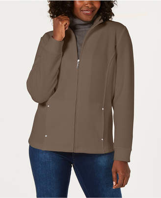 Karen Scott Casual Zip-Front Jacket