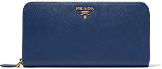 Prada Textured-leather Continental Wallet - Storm blue
