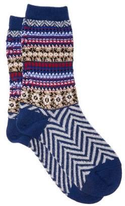 Falke Fair Isle Chevron Striped Virgin Wool Blend Socks - Womens - Navy