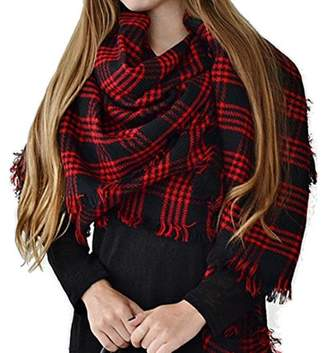 Generic Women's Two Side Warm Thick Large Tartan Blanket Plaid Scarf Wrap Shawl