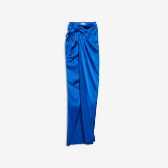 Balenciaga Wrap Skirt in bright blue stretch satin