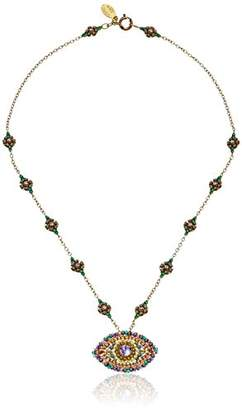Miguel Ases Green Jade and Swarovski Evil Eye Pendant Necklace