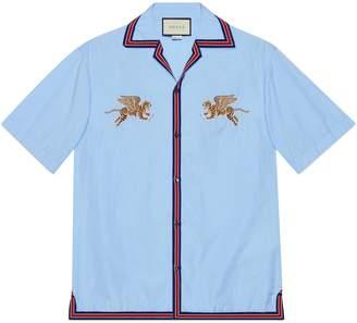 Gucci Tiger fil coupé bowling shirt