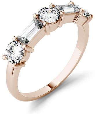 Charles & Colvard Moissanite Round and Baguette Stackable Ring (1-1/6 ct. tw.) in 14k White or Rose Gold