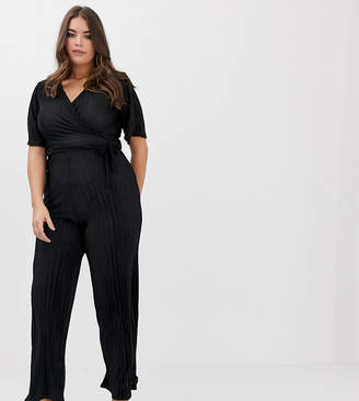 PrettyLittleThing Plus Plus plisse wrap front jumpsuit in black