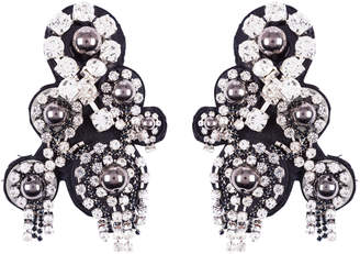 Schumacher Dorothee Rock Glam Embroidered Clip Earrings