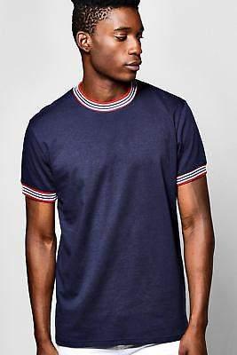 Herren Sportlich geripptes T-Shirt in Marineblau größe Xl