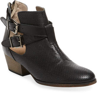 Maiden Lane Double Buckle Perforated Leather Bootie