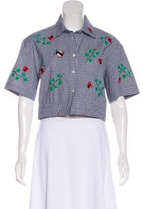 Au Jour Le Jour Embroidered Short Sleeve Top