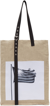 Raf Simons Beige Robert Mapplethorpe Edition Extreme Big American Flag Tote $845 thestylecure.com