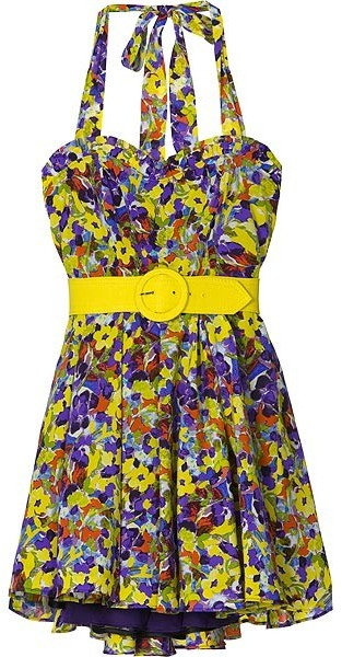 Alice + Olivia Terry Print Belted Halter Dress