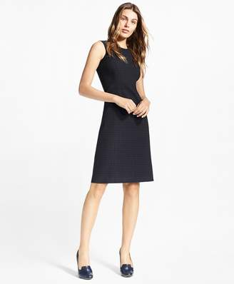 Brooks Brothers Petite Plaid Stretch-Cotton Jacquard Dress