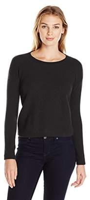 Lark & Ro Women's 100% Cashmere Soft Honeycomb Stitch Crewneck Sweater